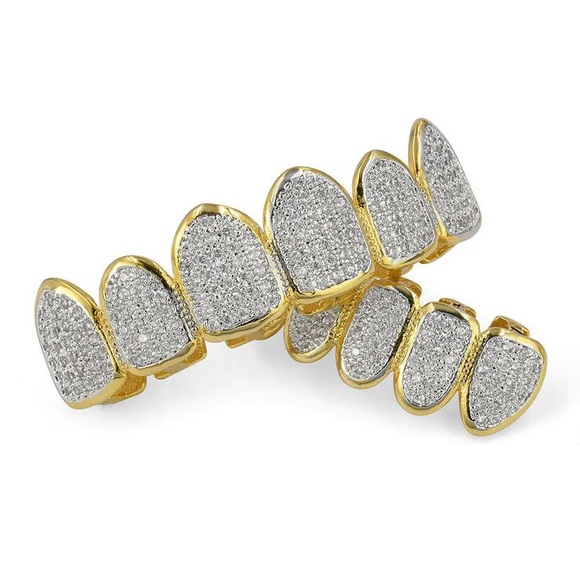 Iced out Two Tone Gold Grillz Set e2e77190f